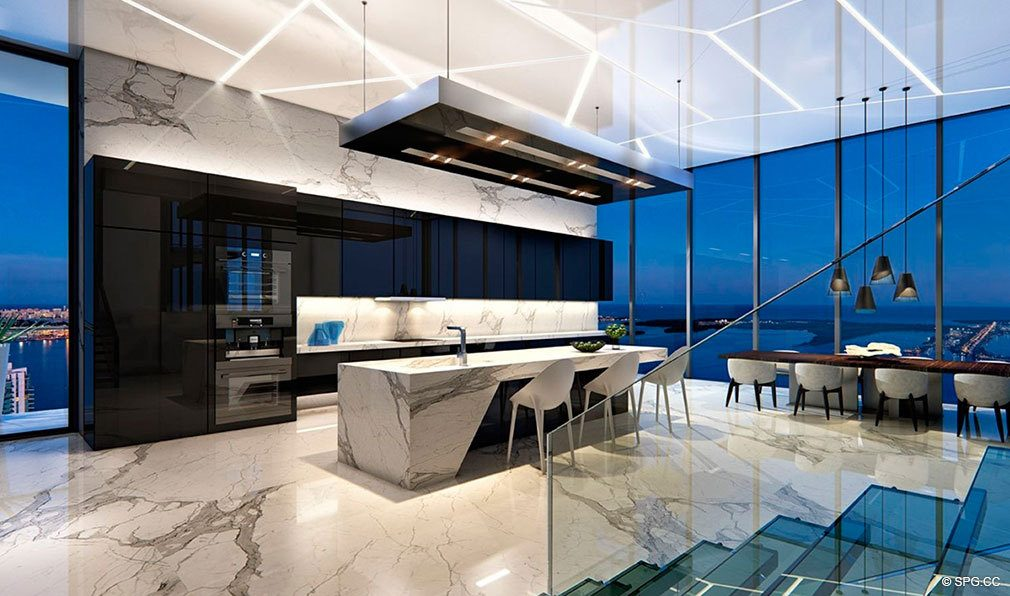 Gourmet Kitchens at Echo Brickell, Seaside Luxury Condos in Miami, Florida 33131