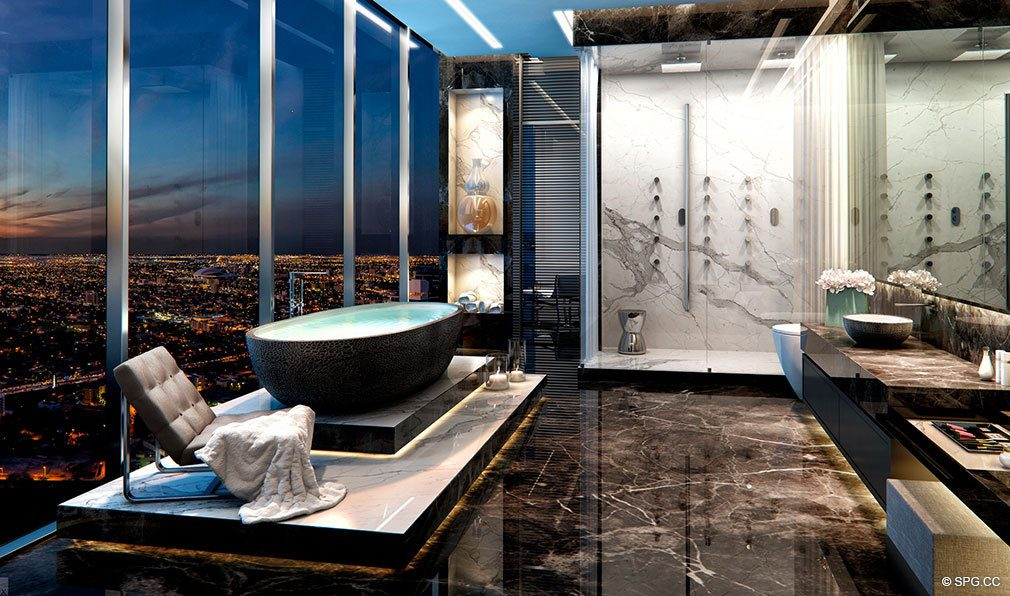 Spectacular Master Baths in Echo Brickell, Seaside Luxury Condos in Miami, Florida 33131