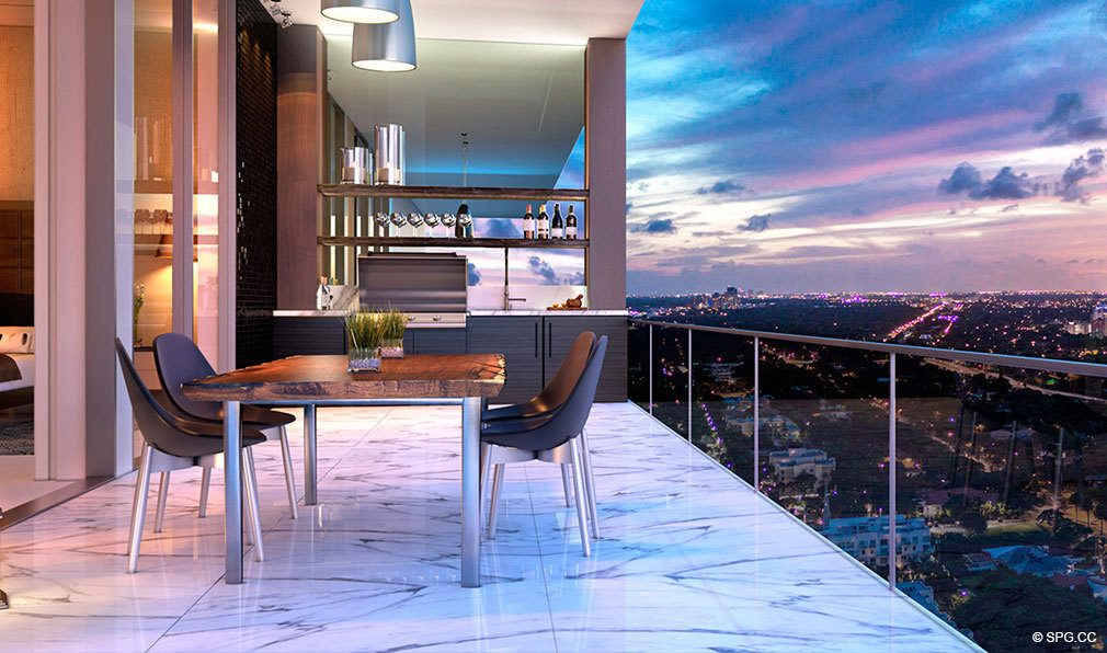 Private Terrace Dining at Echo Brickell, Seaside Luxury Condos in Miami, Florida 33131