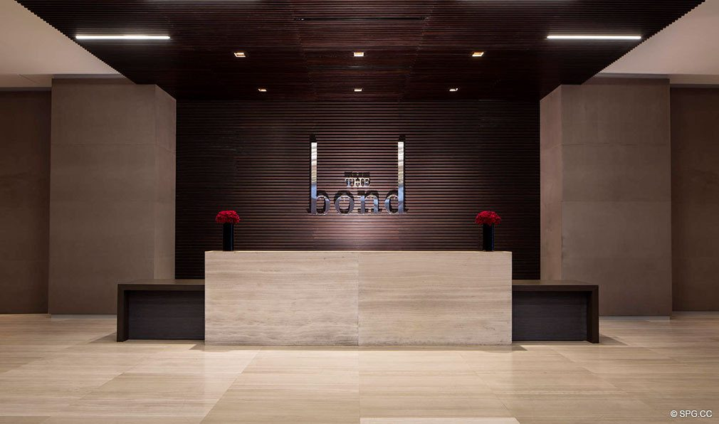 Front Desk at Bond on Brickell, Luxury Seaside Condos in Miami, Florida 33131