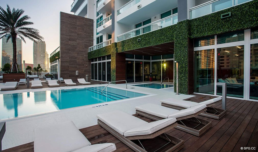 Relax Poolside at Bond on Brickell, Luxury Seaside Condos in Miami, Florida 33131