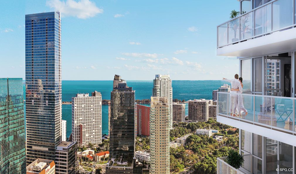 Gorgeous Downtown and Ocean Views from Bond on Brickell, Luxury Seaside Condos in Miami, Florida 33131