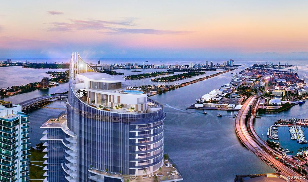 Aerial View of Tower Pool Deck at Paramount Miami Worldcenter, Luxury Seaside Condos in Miami, Florida 33132.