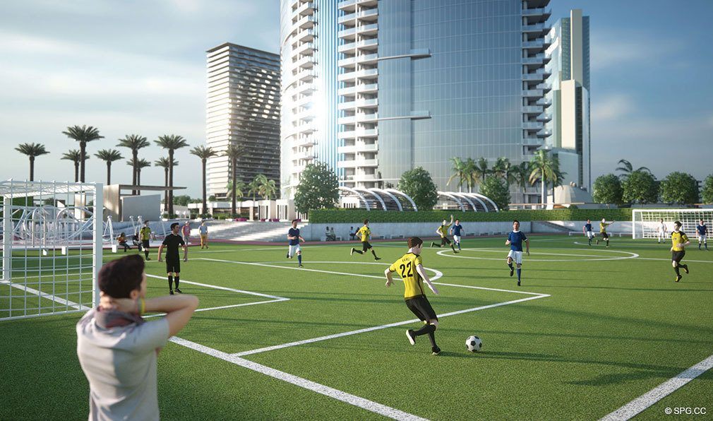 Soccer Field at Paramount Miami Worldcenter, Luxury Seaside Condos in Miami, Florida 33132.