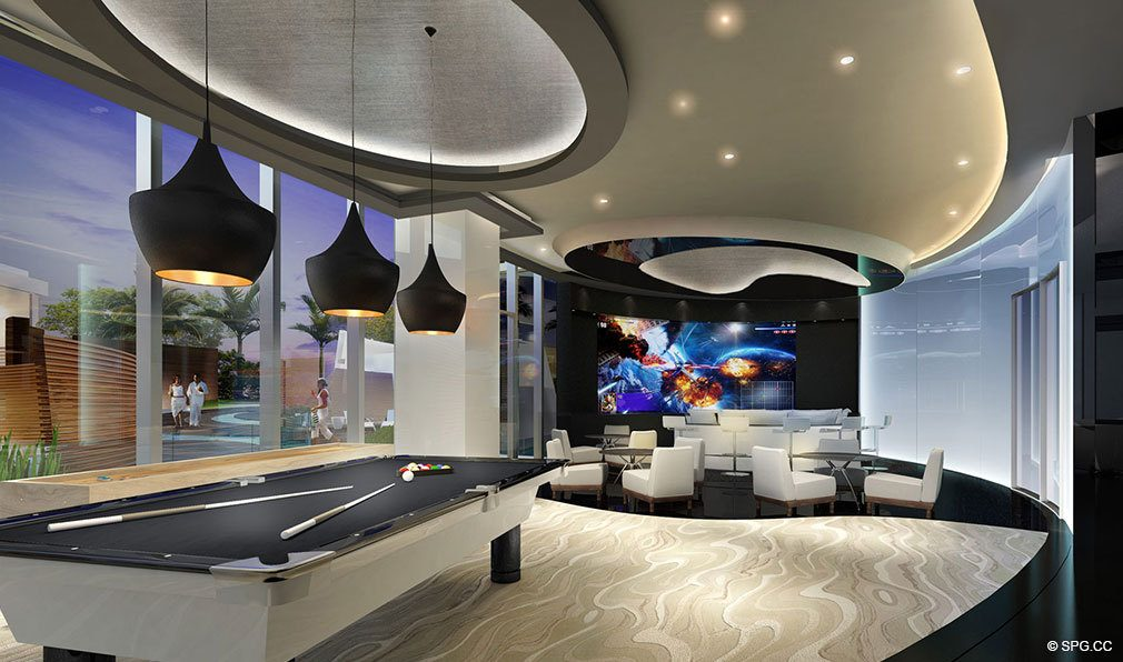 Game Room in Paramount Miami Worldcenter, Luxury Seaside Condos in Miami, Florida 33132.
