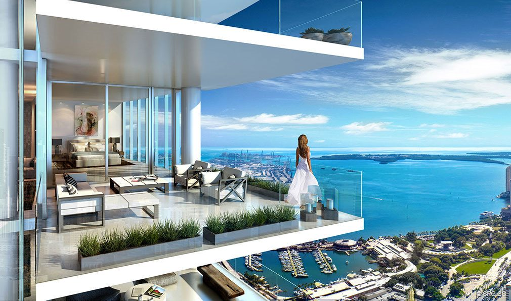 Terrace Views from Paramount Miami Worldcenter, Luxury Seaside Condos in Miami, Florida 33132.