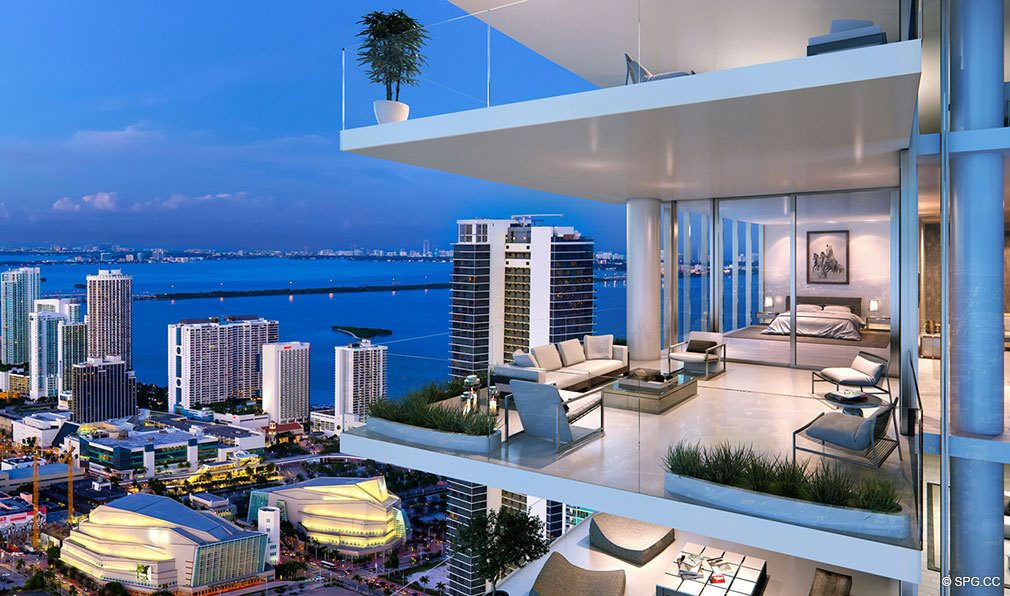 Outdoor Living Room at Paramount Miami Worldcenter, Luxury Seaside Condos in Miami, Florida 33132.