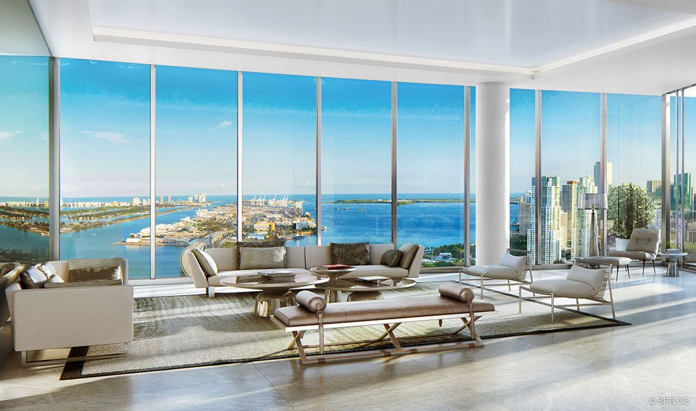 Penthouse Living Room Design in Paramount Miami Worldcenter, Luxury Seaside Condos in Miami, Florida 33132.