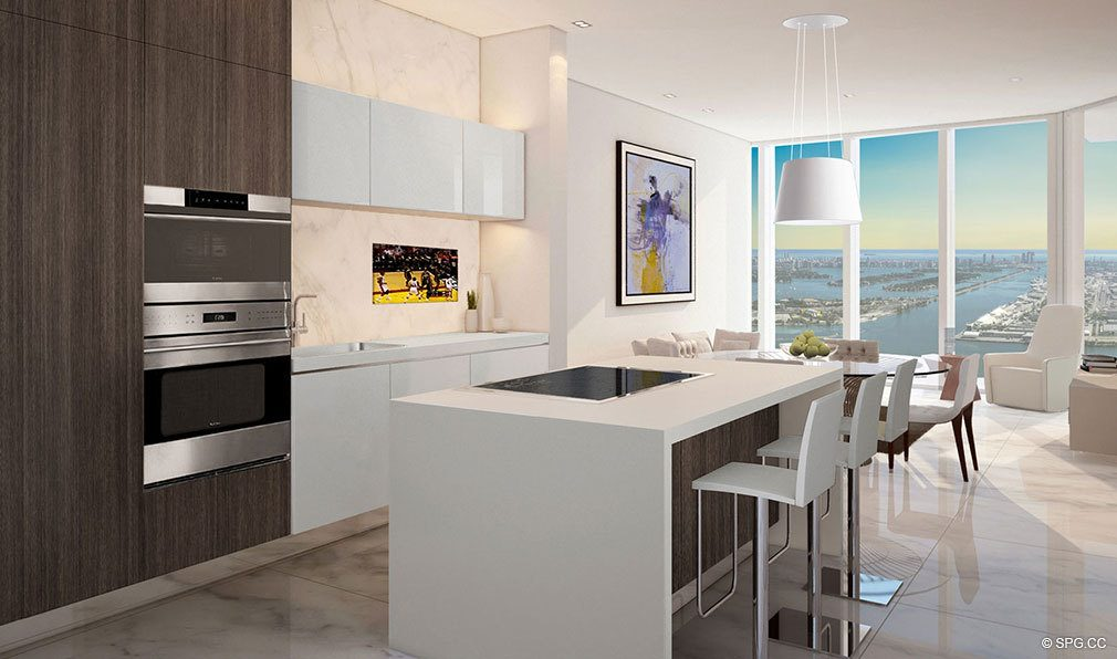 One and Two Bedroom Kitchen inside Paramount Miami Worldcenter, Luxury Seaside Condos in Miami, Florida 33132.