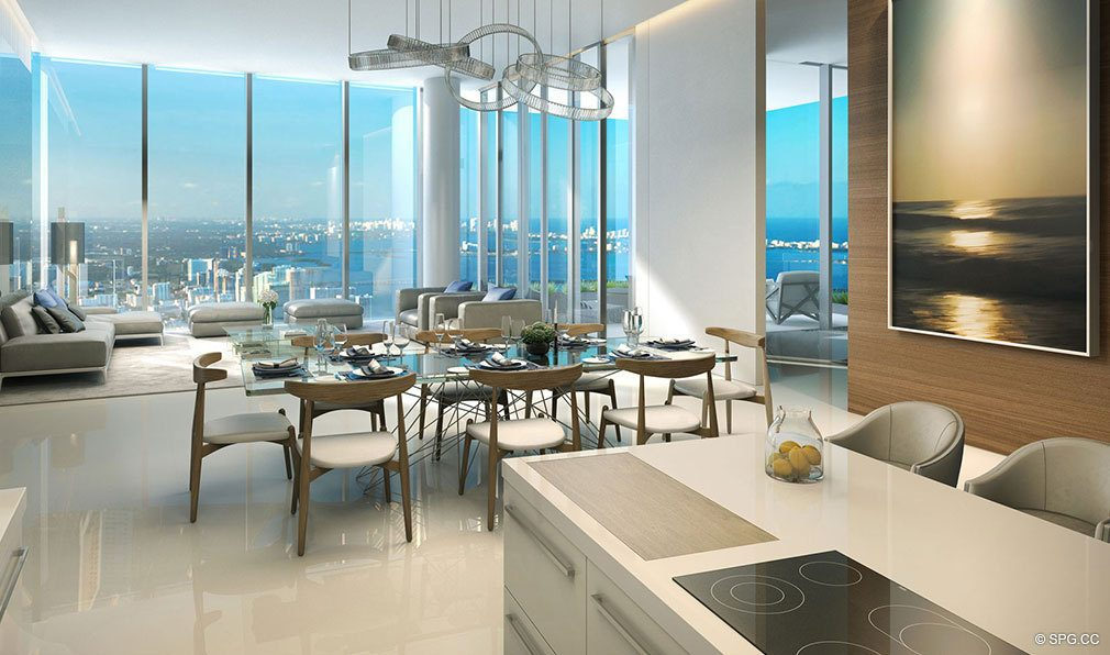 Dining and Living Area in Paramount Miami Worldcenter, Luxury Seaside Condos in Miami, Florida 33132.