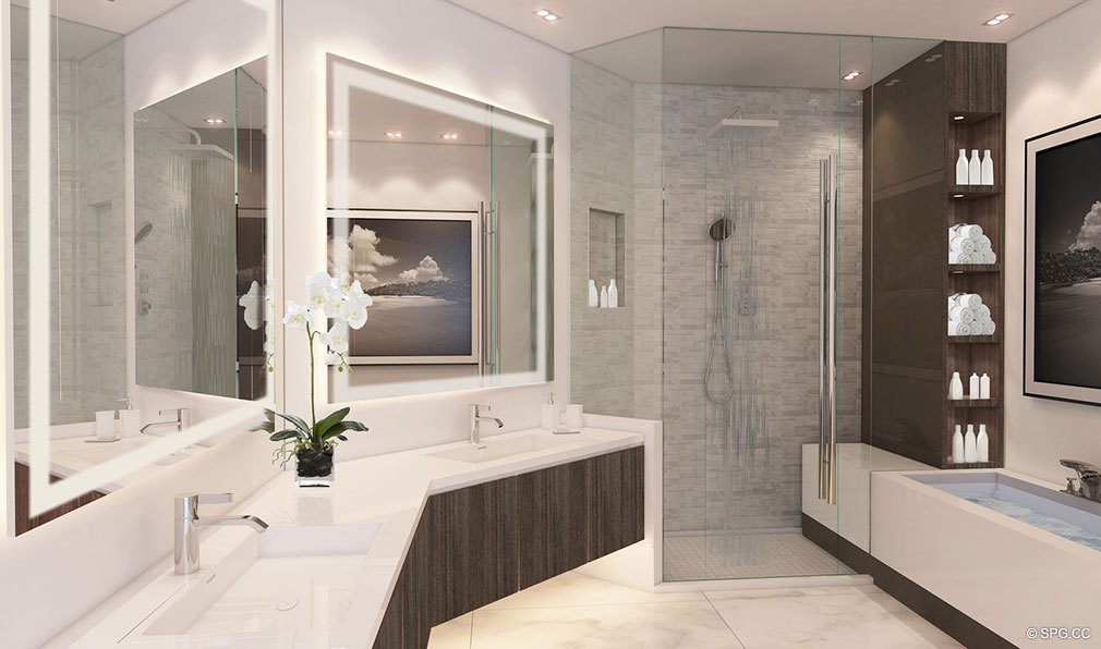 One and Two Bedroom Master Bath in Paramount Miami Worldcenter, Luxury Seaside Condos in Miami, Florida 33132.