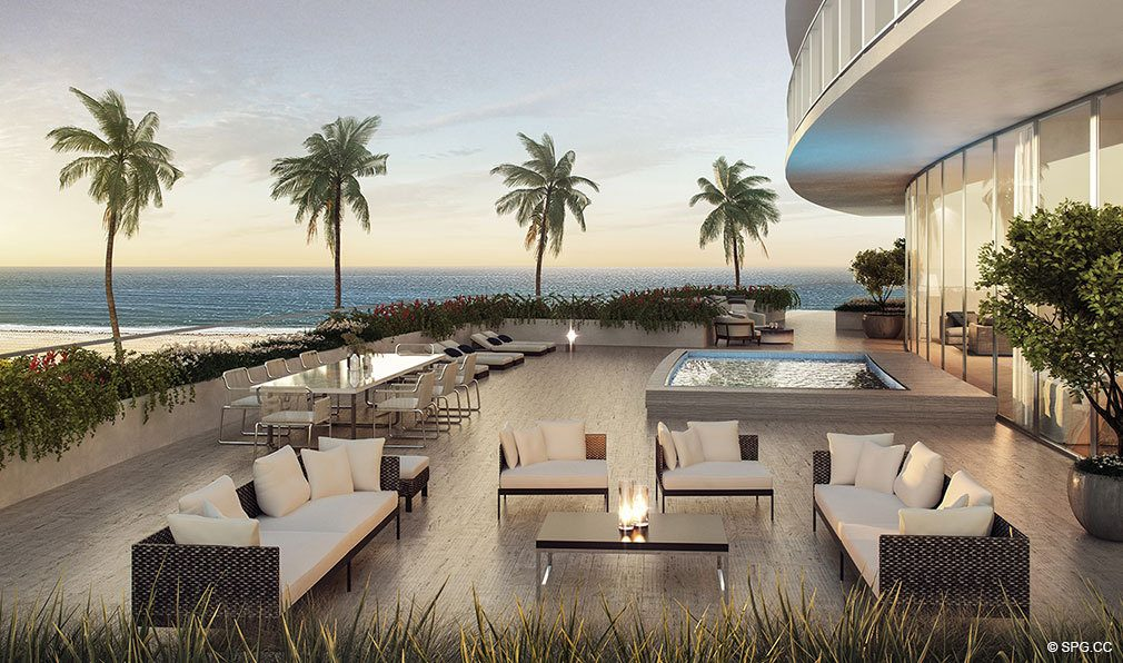 Oversized Beachfront Terraces at Auberge Beach Residences, Luxury Oceanfront Condos in Ft Lauderdale