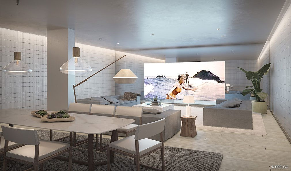 Signature Screening Room at Auberge Beach Residences, Luxury Oceanfront Condos in Ft Lauderdale