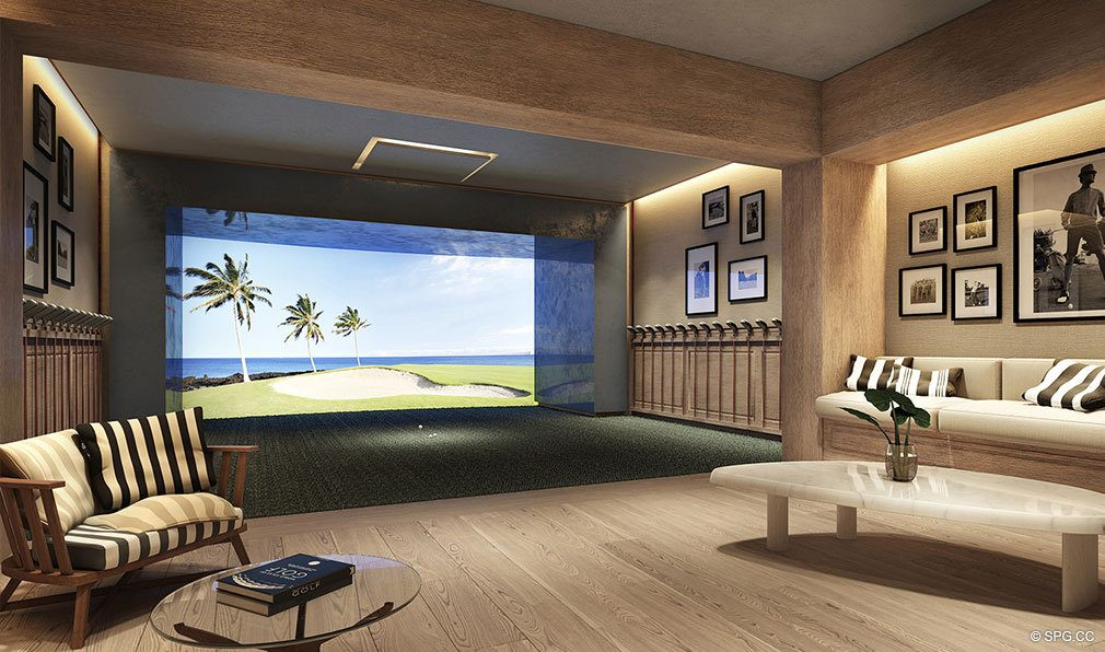 HD Golf Simulator at Auberge Beach Residences, Luxury Oceanfront Condos in Ft Lauderdale