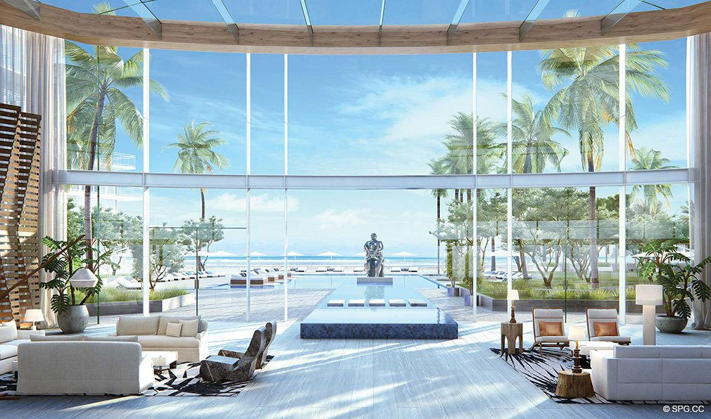 Atrium Lobby at Auberge Beach Residences, Luxury Oceanfront Condos in Ft Lauderdale