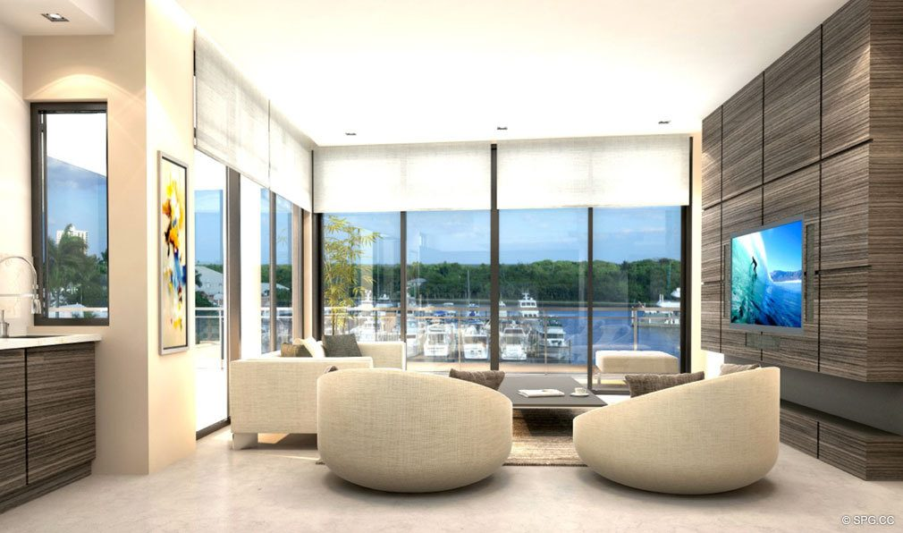 Living Room Design at Aquarius 15, Luxury Waterfront Condos in Fort Lauderdale, Florida 33304