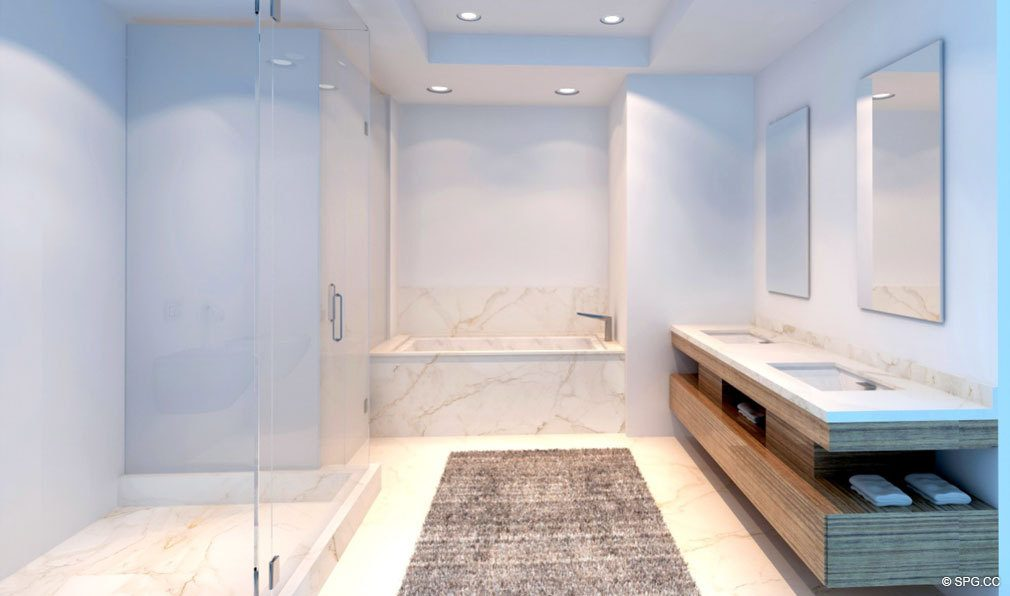 Relaxing Master Bath in Aquarius 15, Luxury Waterfront Condos in Fort Lauderdale, Florida 33304