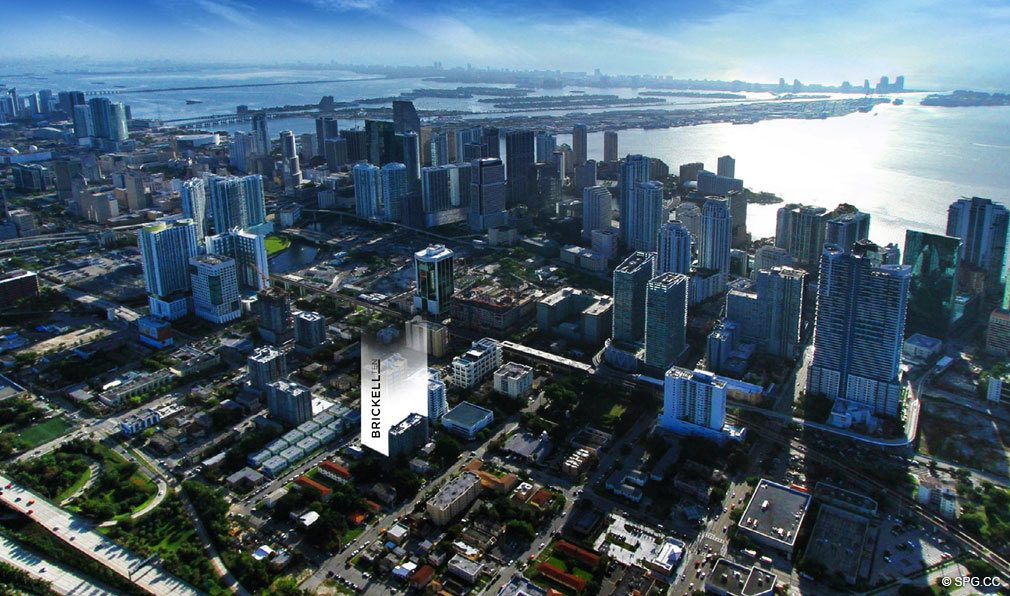 Aerial View of Brickell Ten, Luxury Seaside Condos in Miami, Florida, Florida 33130