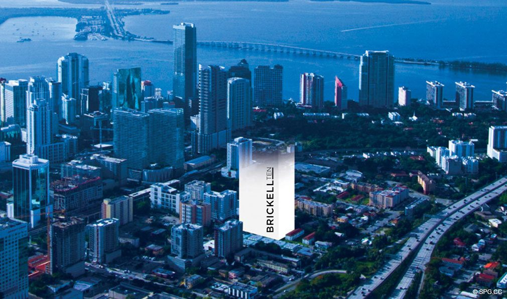 Aerial View of the Brickell Ten Location, Luxury Seaside Condos in Miami, Florida, Florida 33130