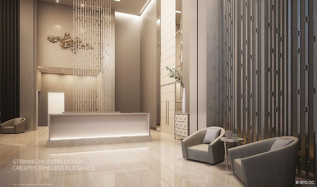 Main Lobby inside Brickell Ten, Luxury Seaside Condos in Miami, Florida, Florida 33130