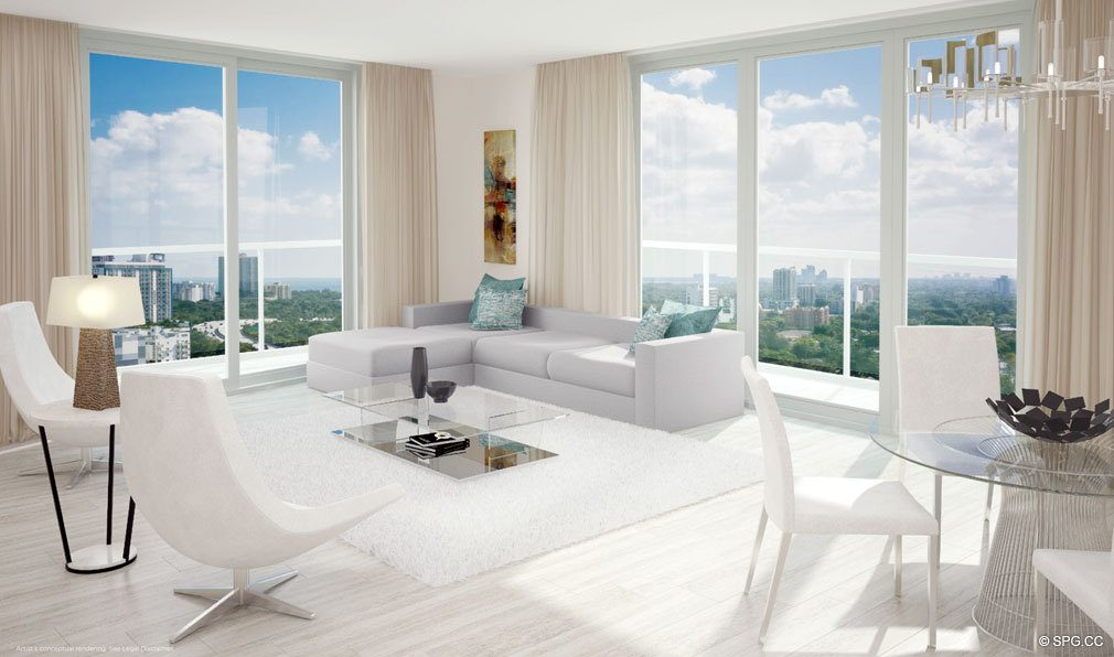 Living Room Design at Brickell Ten, Luxury Seaside Condos in Miami, Florida, Florida 33130