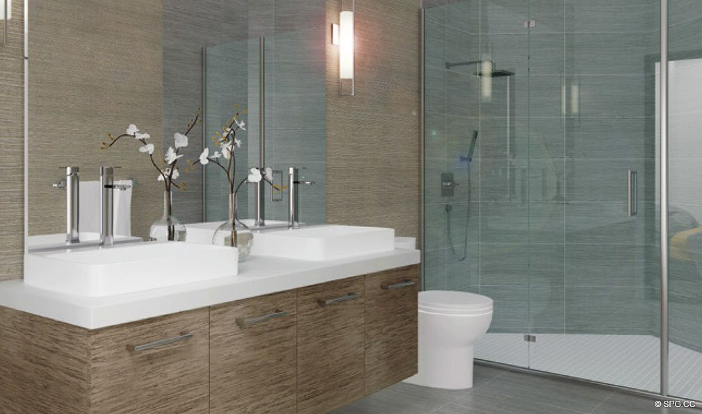 Bathroom Design at Brickell Ten, Luxury Seaside Condos in Miami, Florida, Florida 33130