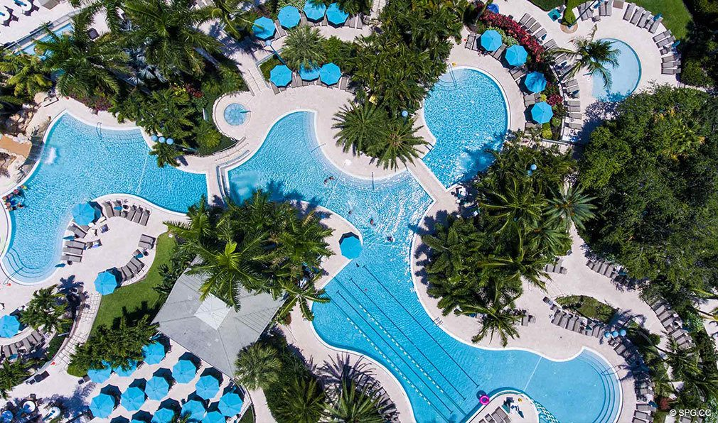 Aerial View of Pools at Akoya Boca West, Luxury Condos in Boca Raton, Florida 33432