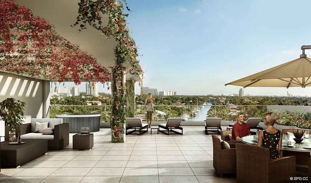 Rooftop Lounge Area at 353 Sunset, Luxury Waterfront Condos in Fort Lauderdale, Florida 33301