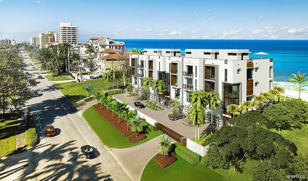 Aerial Street View of 3621 South Ocean, Luxury Oceanfront Townhomes in Highland Beach, Florida 33487