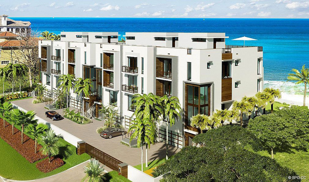 Aerial View of 3621 South Ocean, Luxury Oceanfront Townhomes in Highland Beach, Florida 33487