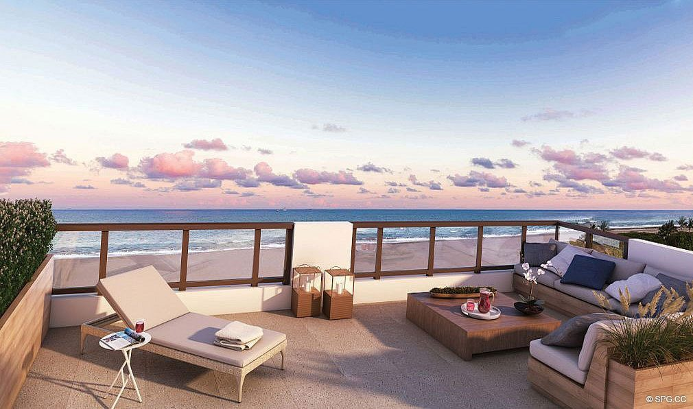 Rooftop Terrace at 3621 South Ocean, Luxury Oceanfront Townhomes in Highland Beach, Florida 33487