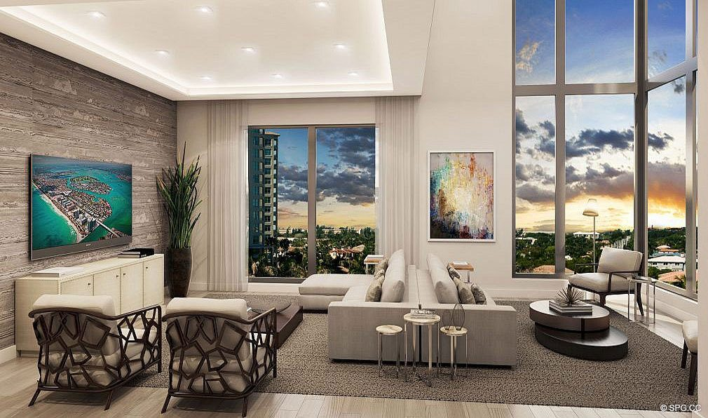 Living Rooms in 3621 South Ocean, Luxury Oceanfront Townhomes in Highland Beach, Florida 33487