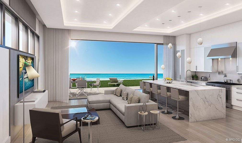 Dining and Kitchen Area in 3621 South Ocean, Luxury Oceanfront Townhomes in Highland Beach, Florida 33487