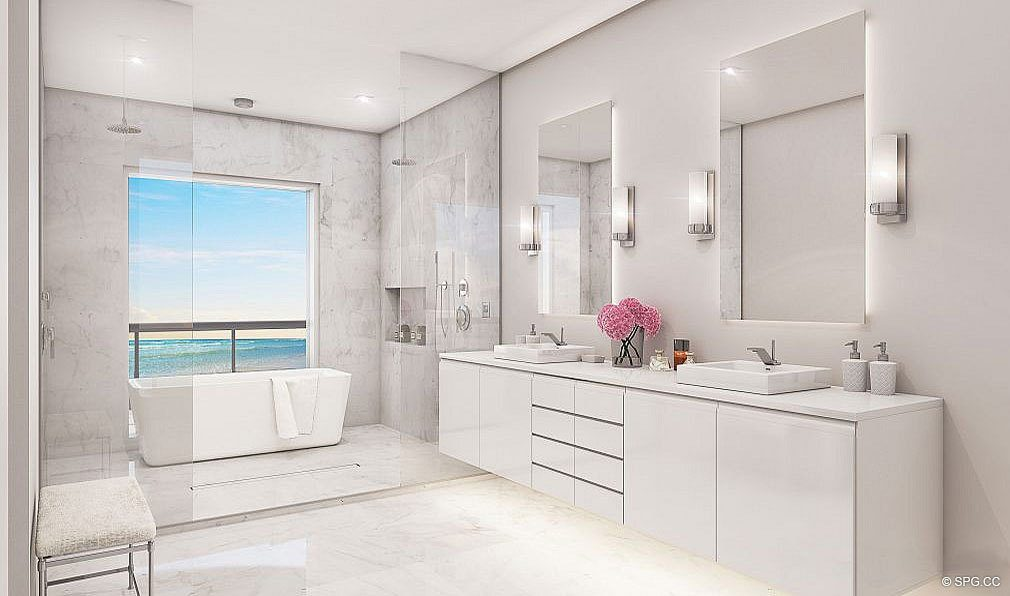 Master Bathroom at 3621 South Ocean, Luxury Oceanfront Townhomes in Highland Beach, Florida 33487