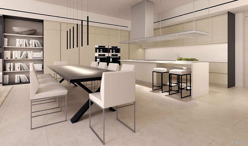 Dining and Kitchen Designs in Eleven on Lenox, Luxury Seaside Condos in Miami Beach, Florida 33139