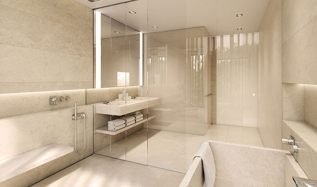 Luxurious Master Baths in Eleven on Lenox, Luxury Seaside Condos in Miami Beach, Florida 33139