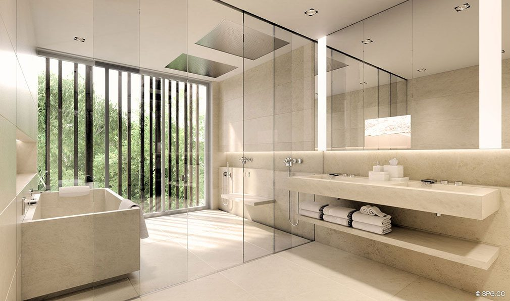 Master Bathroom Design in Eleven on Lenox, Luxury Seaside Condos in Miami Beach, Florida 33139