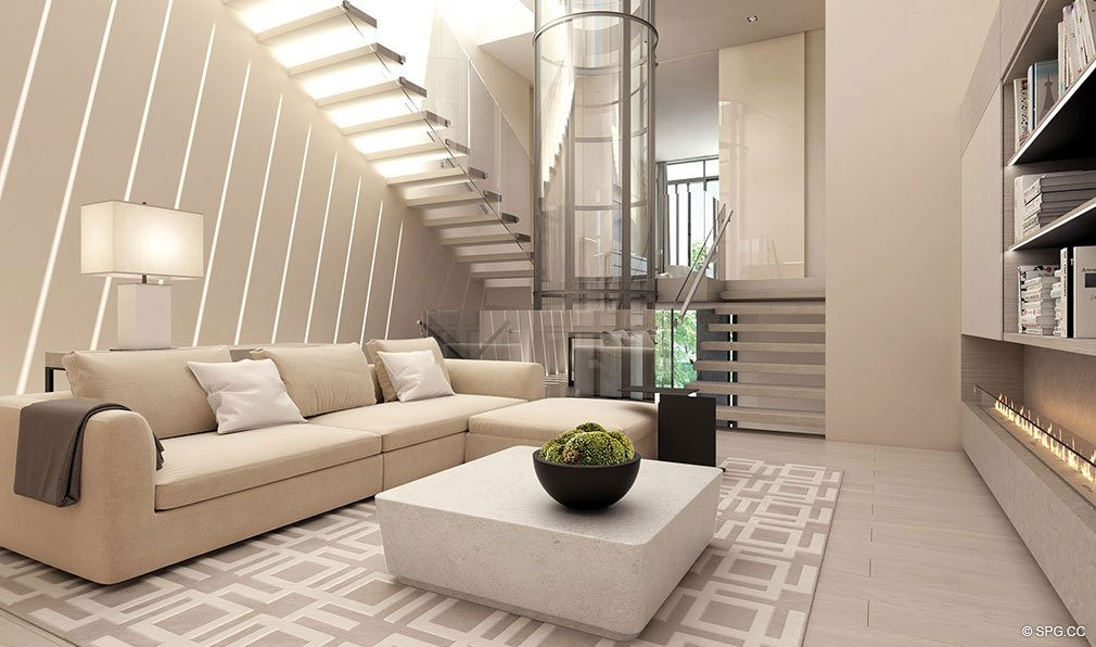 Contemporary Living Rooms in Eleven on Lenox, Luxury Seaside Condos in Miami Beach, Florida 33139