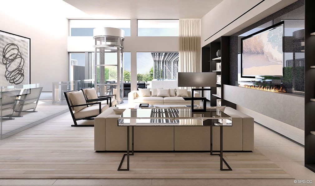 Bright Living Room Designs at Eleven on Lenox, Luxury Seaside Condos in Miami Beach, Florida 33139
