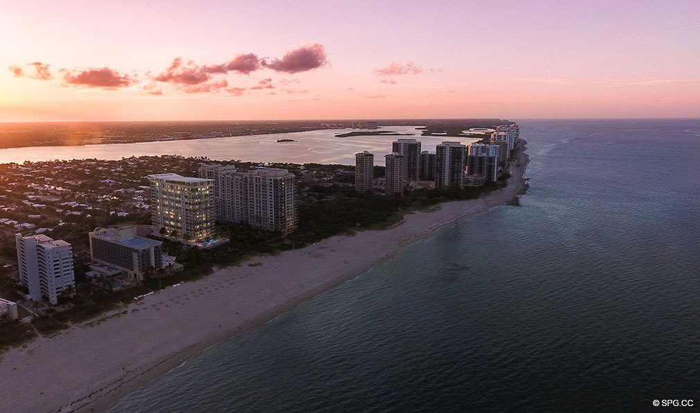 Aerial Render at Dusk of VistaBlue Singer Island, Luxury Oceanfront Condos in Riviera Beach, Florida 33404