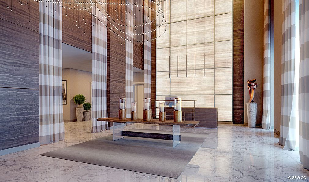 Lobby Interior at VistaBlue Singer Island, Luxury Oceanfront Condos in Riviera Beach, Florida 33404