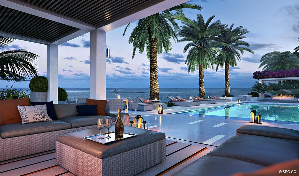 Pool Area at Dusk at VistaBlue Singer Island, Luxury Oceanfront Condos in Riviera Beach, Florida 33404