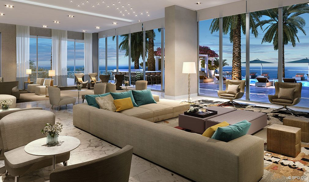 Elegant Social Room at VistaBlue Singer Island, Luxury Oceanfront Condos in Riviera Beach, Florida 33404
