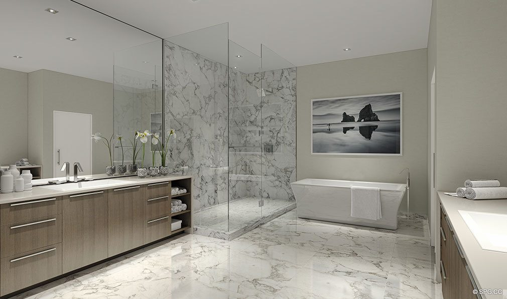 Master Bathrooms at VistaBlue Singer Island, Luxury Oceanfront Condos in Riviera Beach, Florida 33404