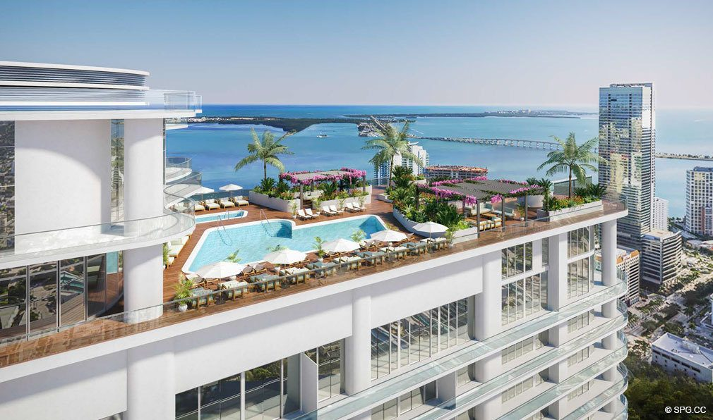 Rooftop Pool Deck at Brickell Flatiron, Luxury Condos in Miami, Florida 33130