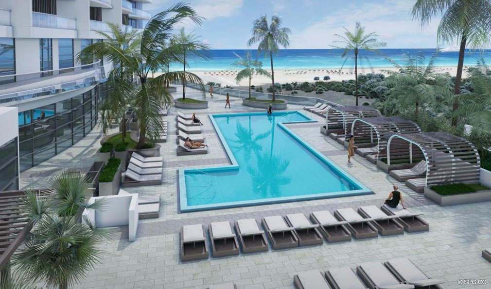 Daytime Pool Deck at Amrit Ocean Resort and Residences, Luxury Oceanfront Condos on Singer Island, Florida