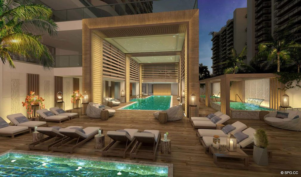 Evenings Poolside at Amrit Ocean Resort and Residences, Luxury Oceanfront Condos on Singer Island, Florida