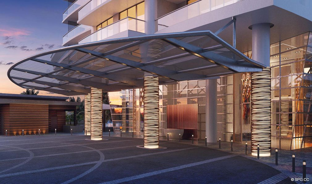 Evening Valet Entry at Amrit Ocean Resort and Residences, Luxury Oceanfront Condos on Singer Island, Florida