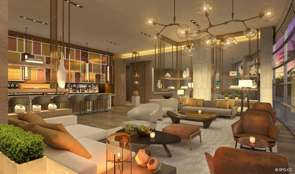 Lobby Lounge Bar at Amrit Ocean Resort and Residences, Luxury Oceanfront Condos on Singer Island, Florida