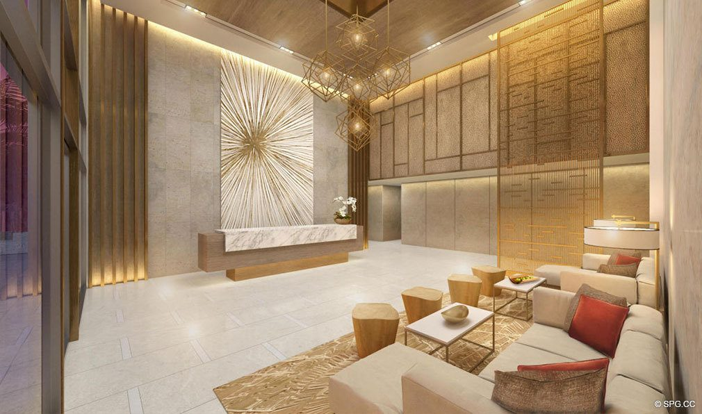 Residence Lobby West at Amrit Ocean Resort and Residences, Luxury Oceanfront Condos on Singer Island, Florida